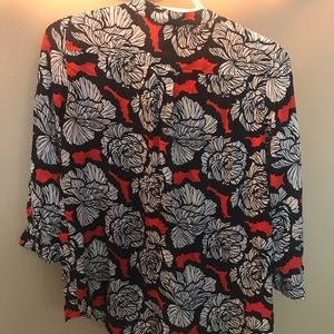 STYLUS Tops - Navy Blue, white and coral colored blouse